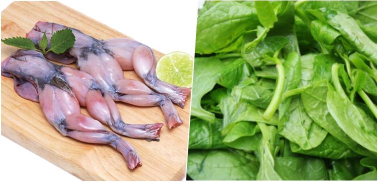 Cách hầm cháo cho bé với thịt ếch và rau mồng tơi