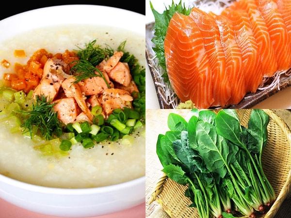 Cách nấu cháo cá hồi rau cải giữ nguyên dinh dưỡng