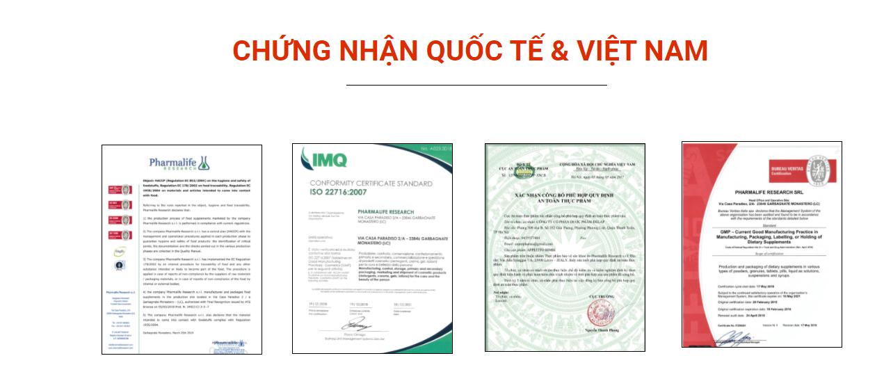 Một số chứng nhận quốc tế mà nhà máy sản xuất Fitobimbi Appetito đã nhận được