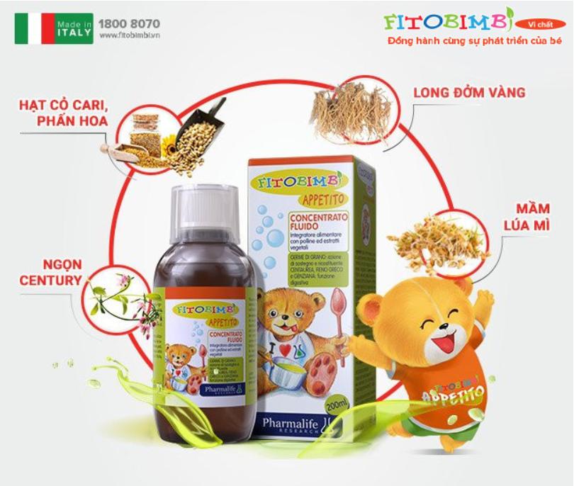 Siro ăn ngon 3 tác động – Fitobimbi Appetito, nhập khẩu nguyên chai từ Italy